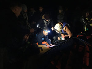 Treating boat migrants during night on Lesvos