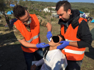 Dentist at work at Moria Camp